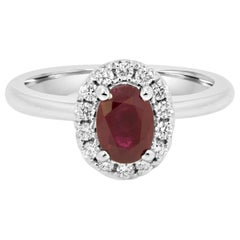 Ruby Oval White Diamond Round Halo Gold Engagement Bridal Fashion Ring