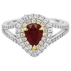 Ruby Pear White Diamond Double Halo Two Color Gold Bridal Fashion Cocktail Ring