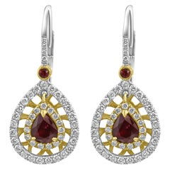 Ruby Pear White Diamond Double Halo Two-Color Gold Drop Dangle Clip-On Earring