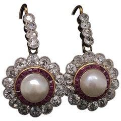 Ruby, Pearl and Diamond Drop Earrings 18 Karat White Gold