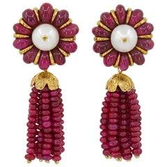 Ruby Pearl Detachable Tassel Earrings
