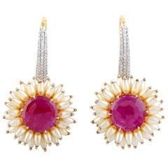 Ruby Pearl Diamond 18 Karat Gold Earrings