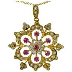 Ruby, Pearl, Diamond Victorian Pendant, circa 1850