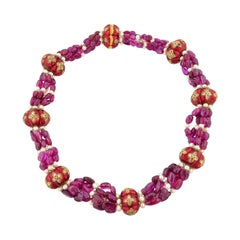 Ruby Pearl Indian Enamel Bead and Gold Necklace