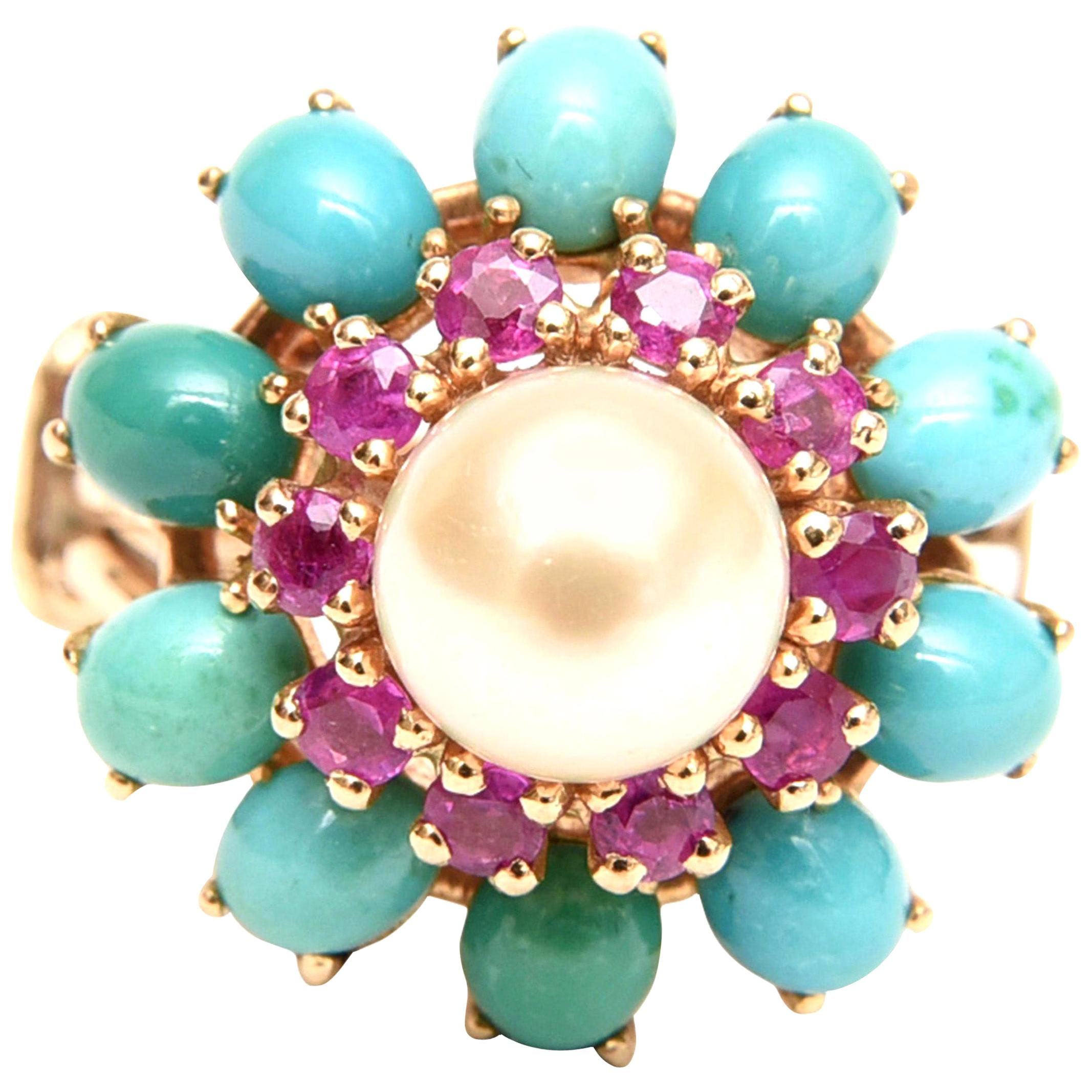 Ruby, Pearl, Turquoise and 14 Karat Yellow Gold Dome Cocktail Ring Vintage