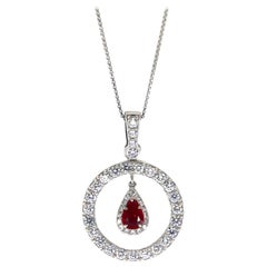 Ruby Pendant 0.60 Carat with Diamonds 1.50 Carat F/VS 18 Karat Gold