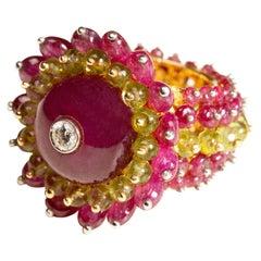 Ruby Peridot Bubble Ring in 18 Karat Gold