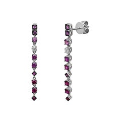 Ruby Pink Sapphire Diamond White Gold Earrings