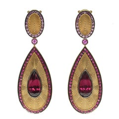Ruby Pink Sapphire Rhodolite Garnet 18 Karat Yellow Gold Classical Earrings