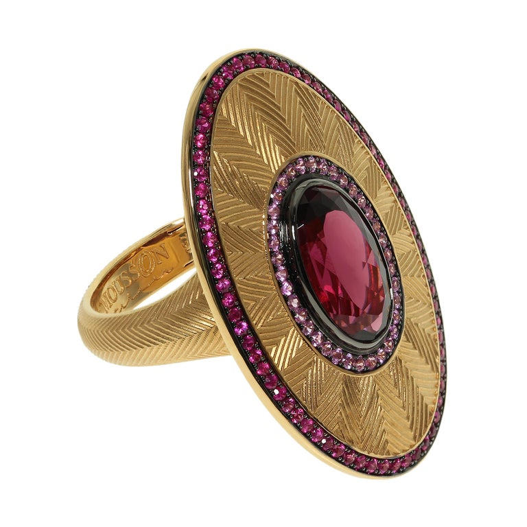 Ruby Pink Sapphire Rhodolite Garnet 18 Karat Yellow Gold Classical Ring Our trade mark texture Tweed looks great in this ring, high detailing back part, hidden spring to adjust the ring size. Accompanied with the earrings