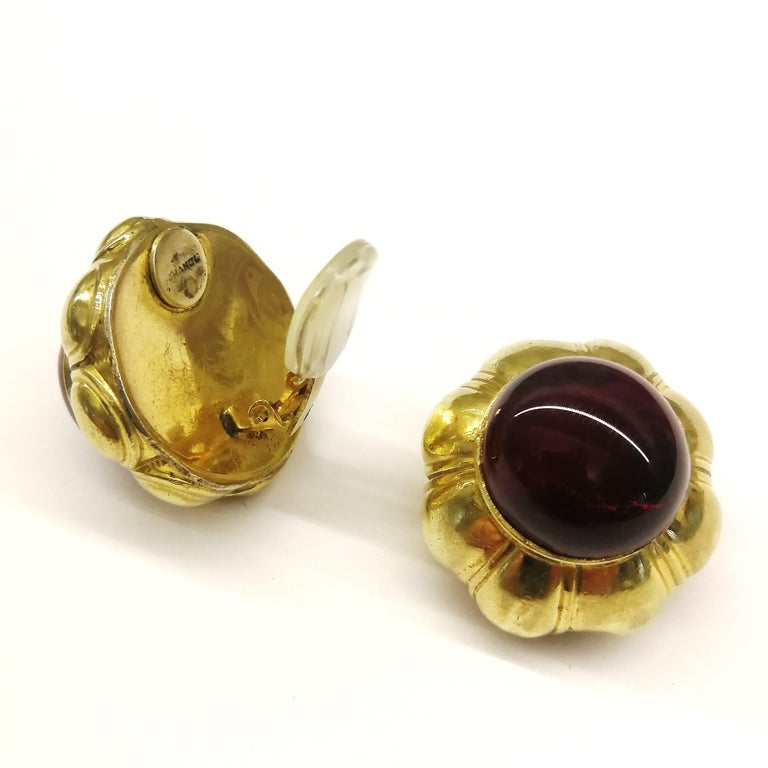 Ruby poured glass and gilt metal earrings, Goossens for Chanel, France, 1960s. For Sale 6