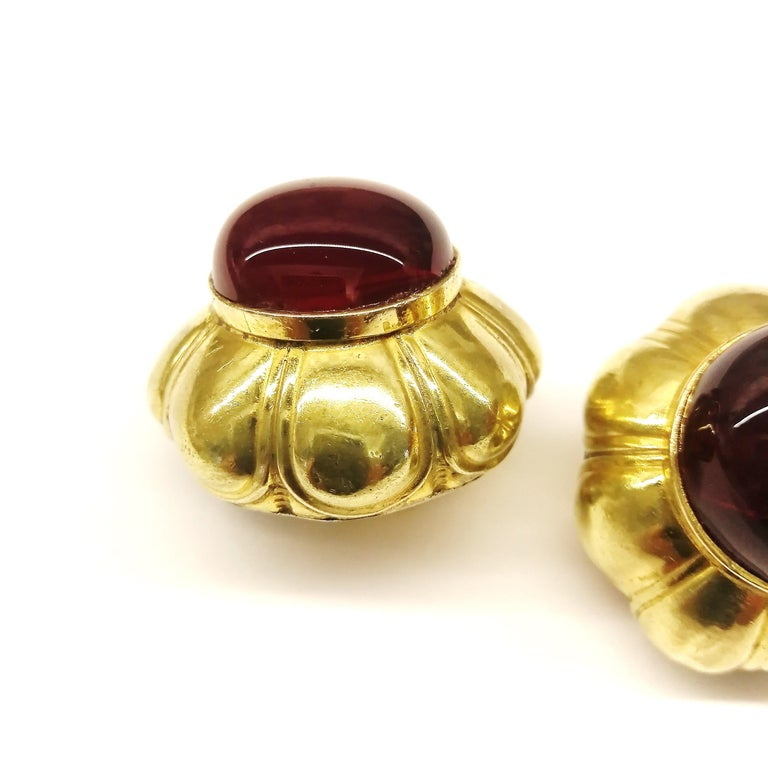 Women's Ruby poured glass and gilt metal earrings, Goossens for Chanel, France, 1960s. For Sale