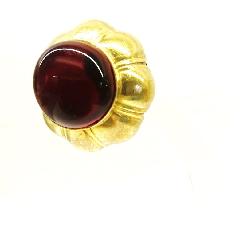 Ruby poured glass and gilt metal earrings, Goossens for Chanel, France, 1960s. For Sale 5