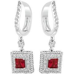 Ruby Princess Cut White Round Single Diamond Halo Gold Drop Lever Back Earring