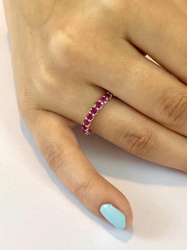 Contemporary Ruby Prong Set Eternity Band Weighing 2.30 Carat For Sale