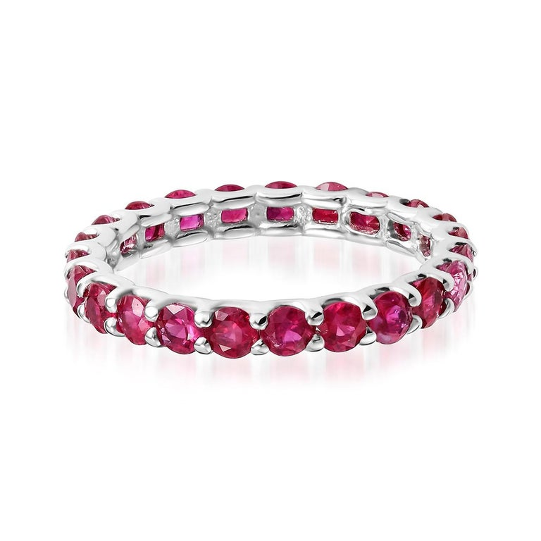 Round Cut Ruby Prong Set Eternity Band Weighing 2.30 Carat For Sale