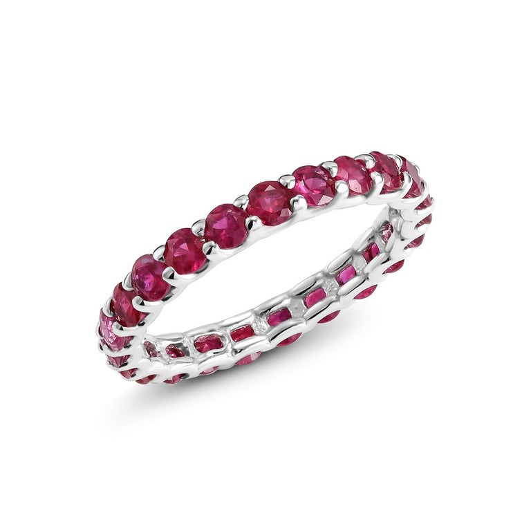 Women's Ruby Prong Set Eternity Band Weighing 2.30 Carat For Sale