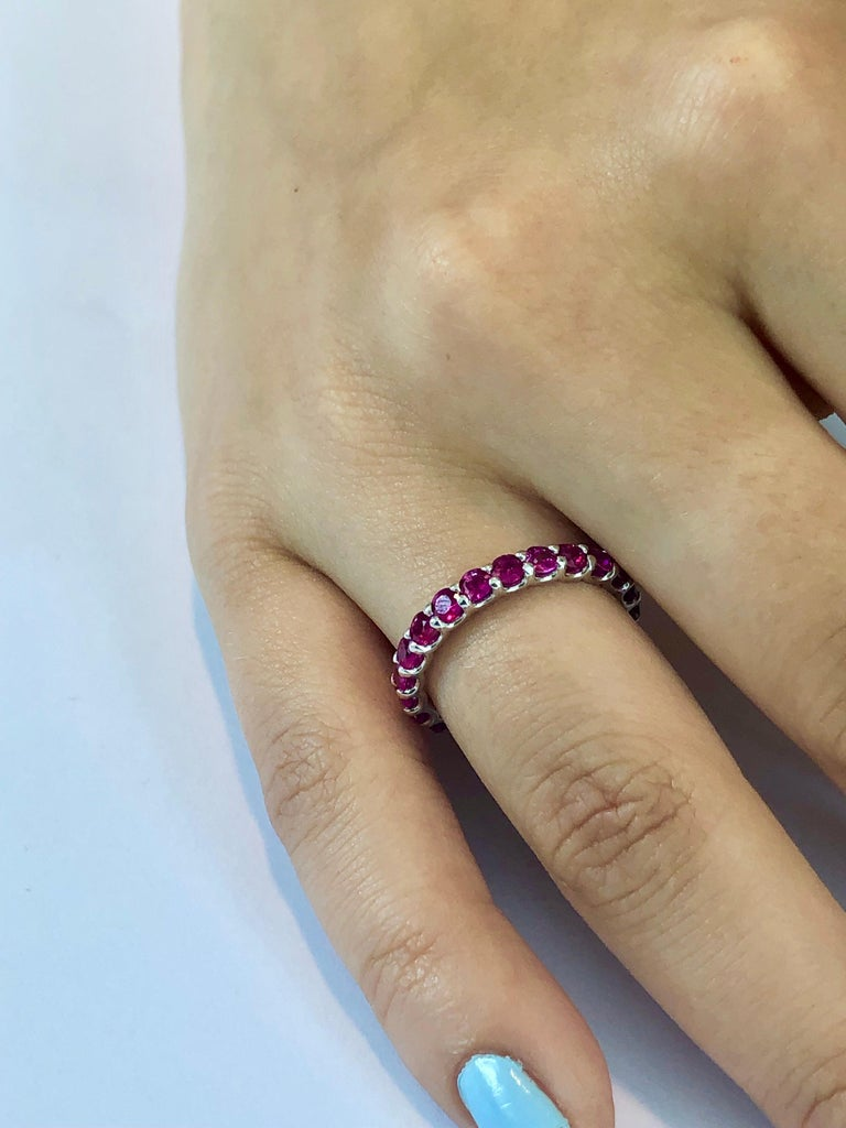 Ruby Prong Set Eternity Band Weighing 2.30 Carat For Sale 1