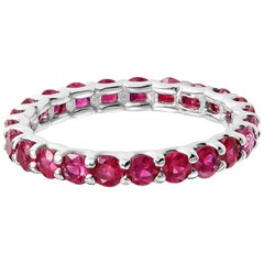 Ruby Prong Set Eternity White Gold Band Weighing 2.30 Carat