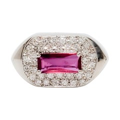 Ruby Rectangle and White Diamond Cocktail Ring in Platinum