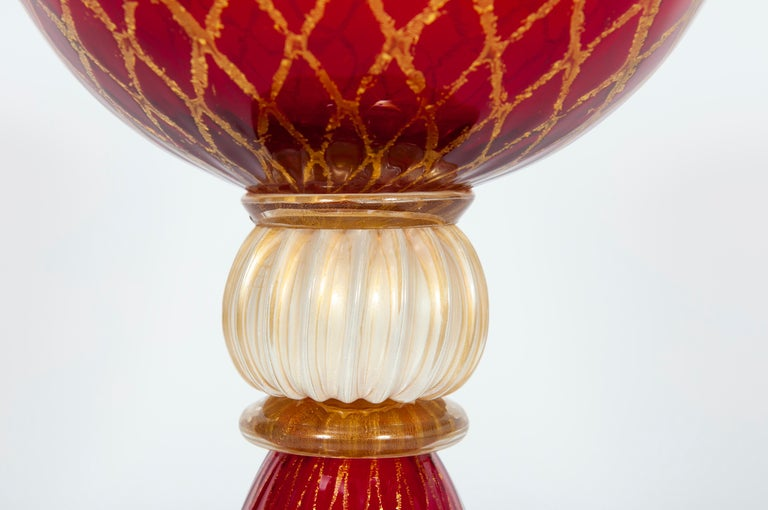 Italian Ruby Red Bowl with 24-Carat Gold Finishes in Blown Murano Glass, 1990s, Italy For Sale