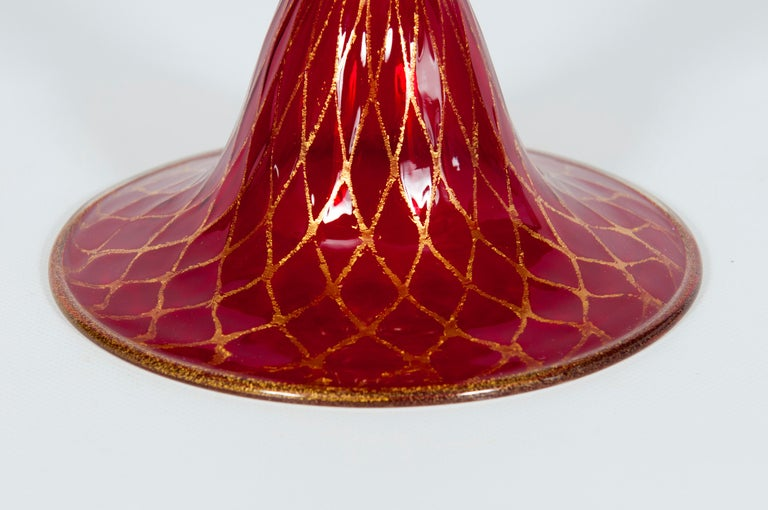 Hand-Crafted Ruby Red Bowl with 24-Carat Gold Finishes in Blown Murano Glass, 1990s, Italy For Sale