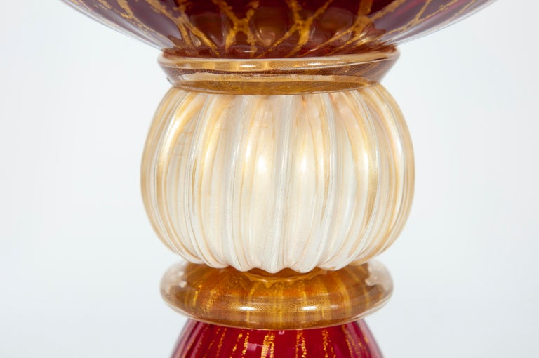 Late 20th Century Ruby Red Bowl with 24-Carat Gold Finishes in Blown Murano Glass, 1990s, Italy For Sale