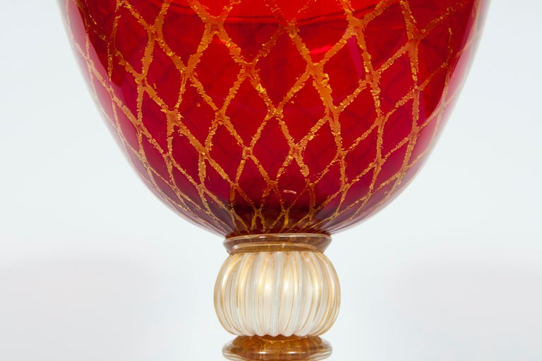 Art Glass Ruby Red Bowl with 24-Carat Gold Finishes in Blown Murano Glass, 1990s, Italy For Sale