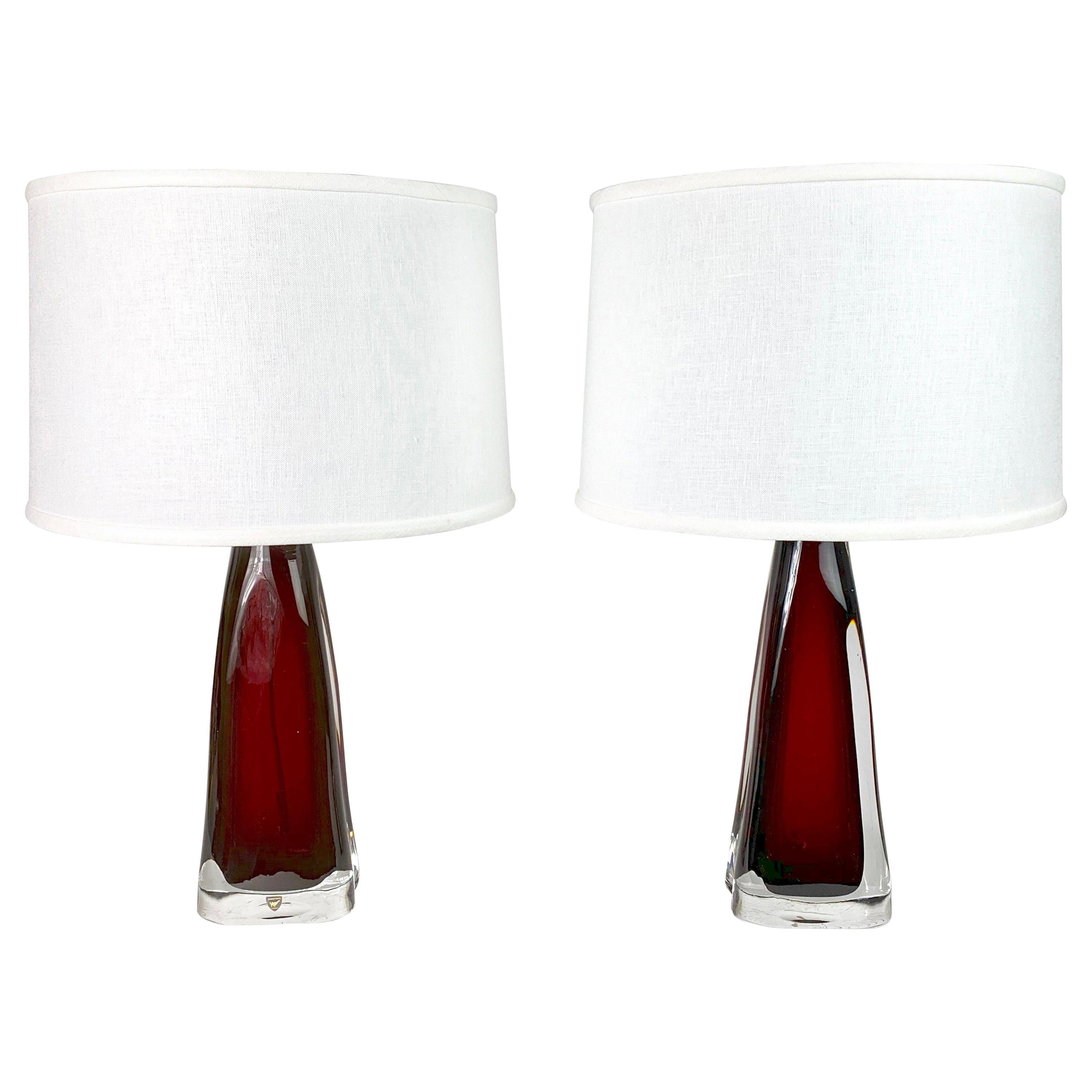 Pair of Ruby Red Orrefors Glass Lamps, 1950, Sweden