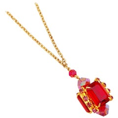 Ruby Red Emerald Cut Crystal Pendant Necklace w Aurora Borealis Accents, 1960s