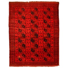 Ruby Red Ersari Turkmen Rug with All-Over Geometric Pattern, 1930s