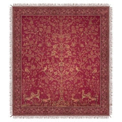 Ruby Red from Kashmir, a Cashmere Pashmina Tree of Life Coverlet or Shawl