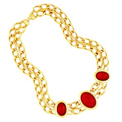 """Ruby Red Glass Cabochon and Double Chain """"Milano Collection"""" Necklace by Napier"""