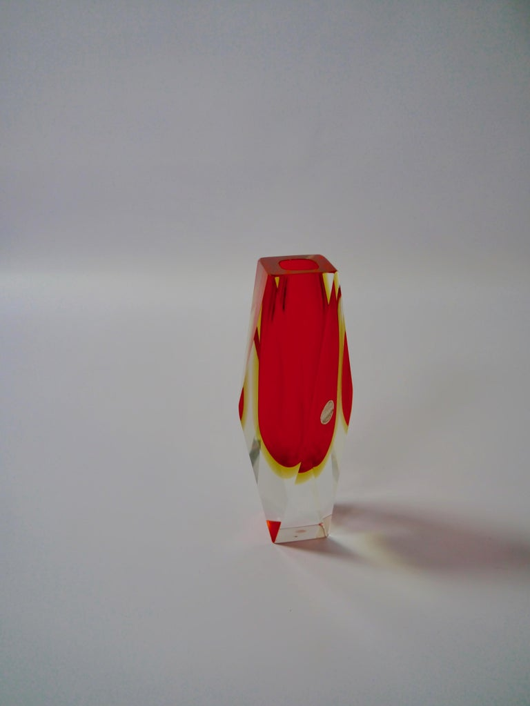Mid-Century Modern Ruby Red Murano Glass Vase by Mandruzzato for Oball, Italy, 1970s For Sale