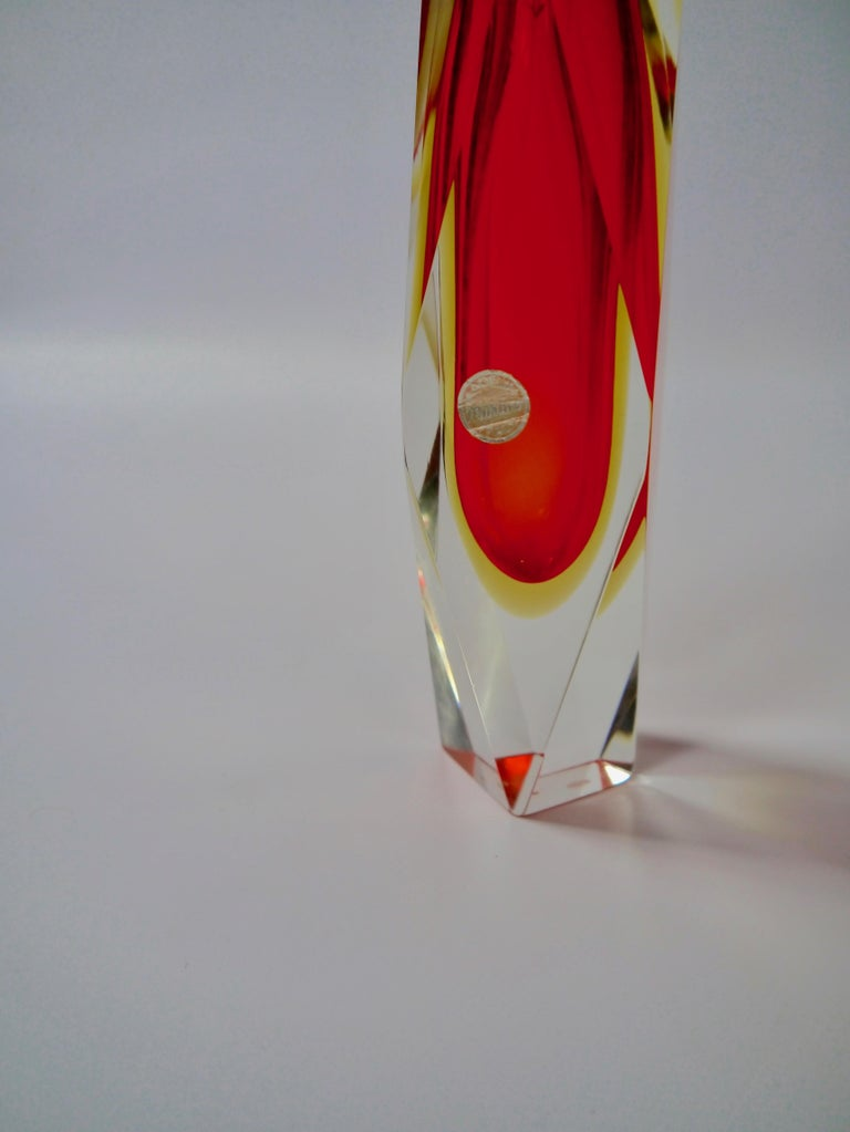 20th Century Ruby Red Murano Glass Vase by Mandruzzato for Oball, Italy, 1970s For Sale