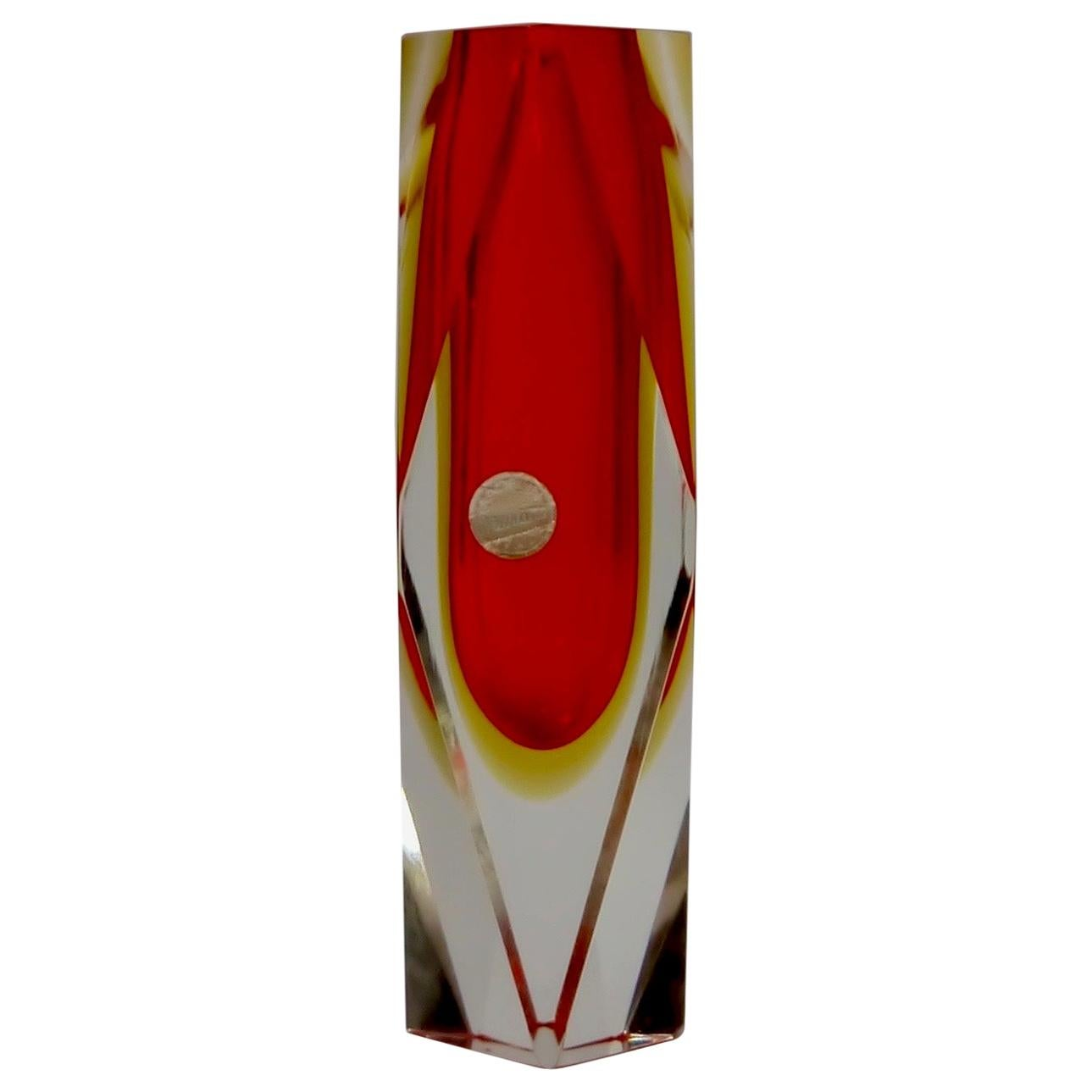 Ruby Red Murano Glass Vase by Mandruzzato for Oball, Italy, 1970s