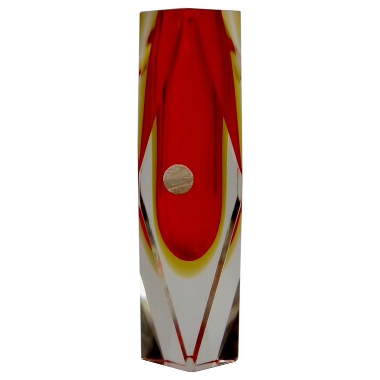 Ruby Red Murano Glass Vase by Mandruzzato for Oball, Italy, 1970s For Sale