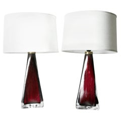 Ruby Red Orrefors Lamps, Sweden, 1950