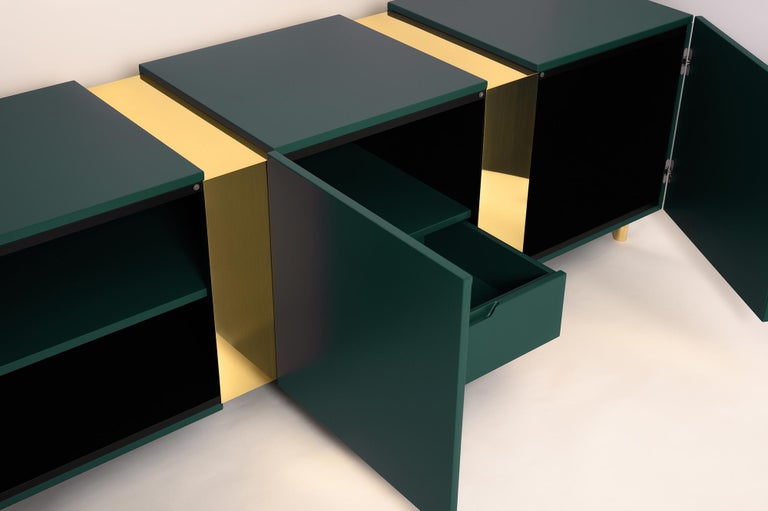 Modern Ruby Red Sideboard in Brass and Colorful Lacquered Wood, Geometric-Shaped For Sale