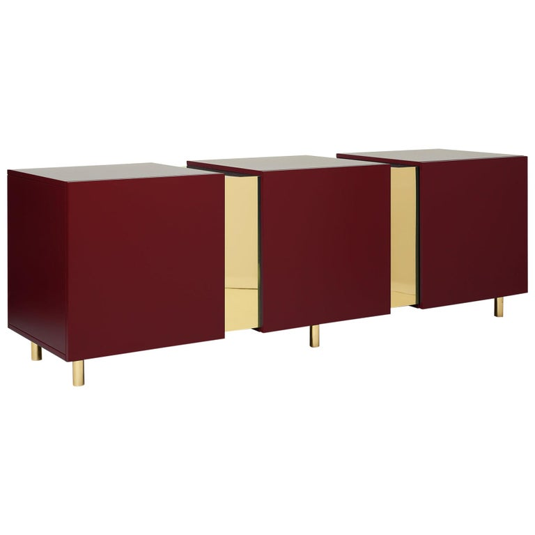 Ruby Red Sideboard in Brass and Colorful Lacquered Wood, Geometric-Shaped For Sale