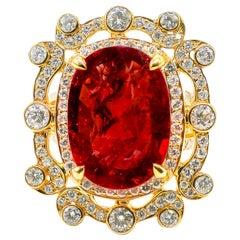 Ruby Ring 12.28 Carat with Diamonds 2.45 Carat F/VS 18 Karat Gold