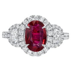 Ruby Ring 1.52 Carat Oval Vivid Red