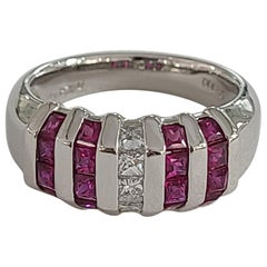 Ruby Ring Set in Platinum with Diamonds