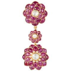 Ruby, Rose-Cut Diamond, 18 Karat Gold Petal Pendant