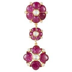 Manpriya B Ruby, Rose-Cut Diamond, 18 Karat Gold Tulip and Clover Pendant