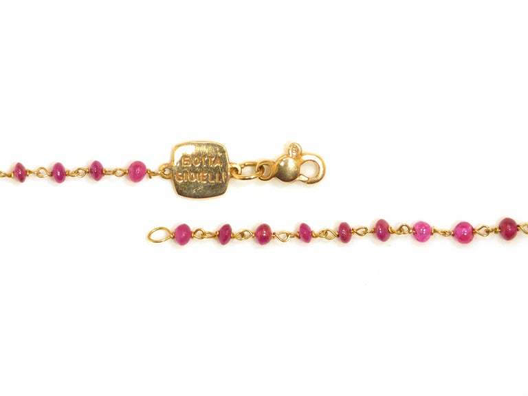 Contemporary Ruby Rose Gold Necklace Handcrafted in Italy by Botta Gioielli For Sale