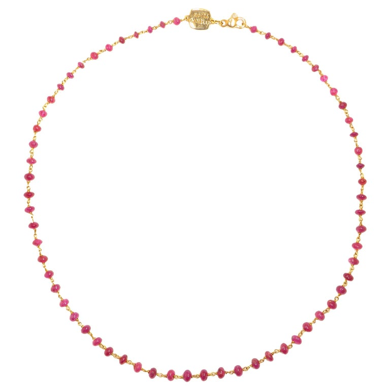 Ruby Rose Gold Necklace Handcrafted in Italy by Botta Gioielli For Sale