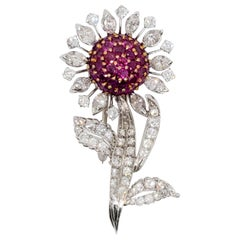 Ruby Round and Diamond Marquise Flower Brooch in Platinum