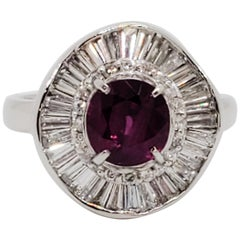 Ruby Round and White Diamond Cocktail Ring in Platinum