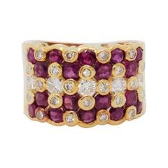 Ruby Round and White Diamond Round Ring in 18 Karat Yellow Gold